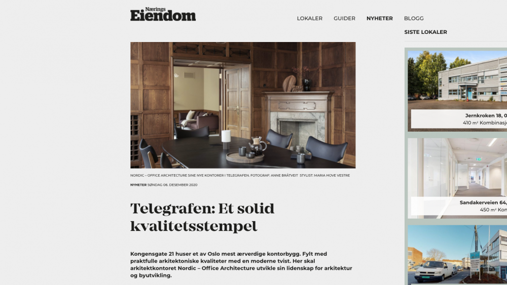 Furniture from Eikund adorns Nordic's new office premises in Telegrafbygget, Oslo
