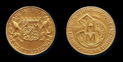 Gold medal, Deutsche Handwerksmesse in Munich, 1955